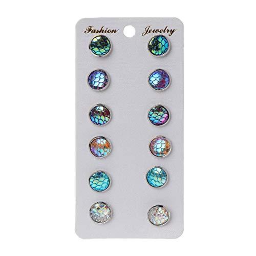 VVXXMO - Juego de 6 pares de pendientes de cristal de escala redonda de peces de belleza para mujer, juego de pendientes a juego, accesorios de joyería de moda