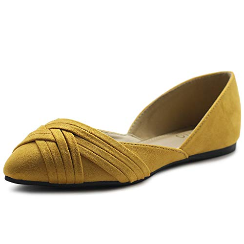 Ollio Women's Shoes Faux Suede Light Comfort D'Orsay Pointed Toe Braided Ballet Flats F85 (10 B(M) US, Mustard)