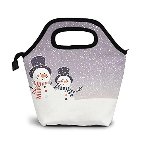 Bolsa Térmica Comida Bolsas De Almuerzo para Mujeres Hombres Niñas Niños Bolsa Isotérmica De Almuerzo Muñeco de nieve-muñecos de nieve-nevadas-navidad