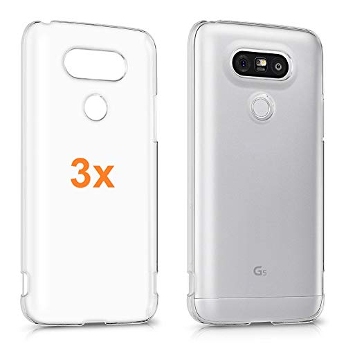 REY Pack 3X Cover in Gel TPU Trasparente per LG G5 H830, Ultra Sottile 0,33 mm, Morbido Flessibile, Custodia Silicone