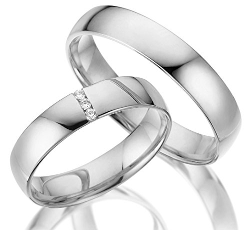 2 x Trauringe 925 Silber PAARPREIS AG.13.V2 mit Swarovski Crystal und Gravur Verlobungsringe Günstige Eheringe aus echtem Silber Sterling Juwelier Made in Germany Massiv Silver Rings Express