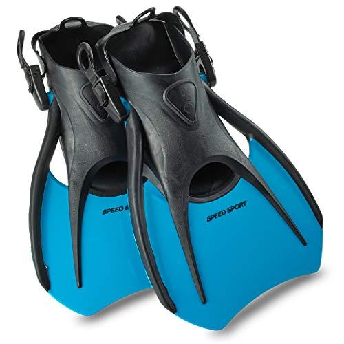 Phantom Aquatics Snorkel Fins, Swim Fins Travel Size Short Adjustable for Snorkeling Diving Adult Men Women Kids Open Heel Swimming Flippers + Net Carry Bag… (Aqua, Medium (US Men's 7-10))