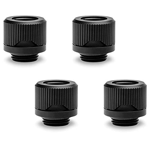 EKWB EK-Quantum Torque HTC-12 Compression Fitting for EKWB Rigid Tubing, 12mm OD, Black, 4-Pack
