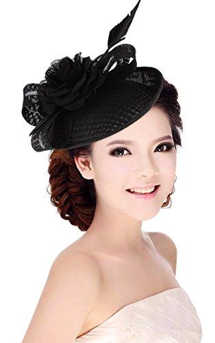 La Vogue Femme Chapeau Cérémonie Barrette Voilette Mariage Cheveux Mariées Fête Noir