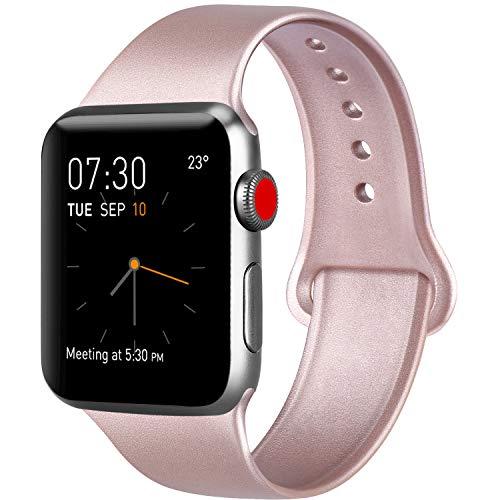AK Compatibile Cinturino per Apple Watch 44mm 42mm 38mm 40mm, Cinturino Sport in Silicone Cinturino Uomo e Donna per iWatch Serie 5 4 3 2 1 (#Oro Rosa, 38/40mm S/M)