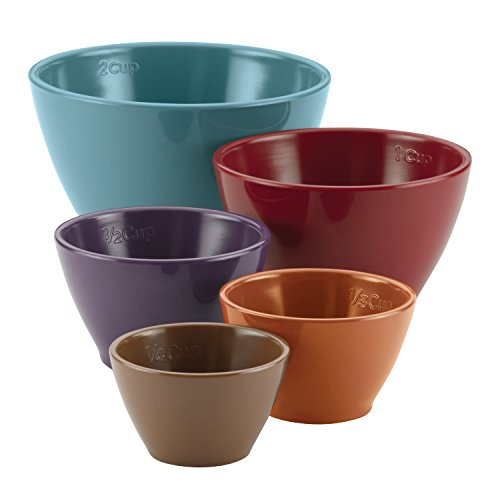 Rachael Ray 46312 Cucina Kitchen/Cooking Measuring Cups, Set includes: 1/4-Cup Brown, 1/3-Cup Orange, 1/2-Cup Lavender, 1-Cup Red, 2-Cup Blue, Assorted