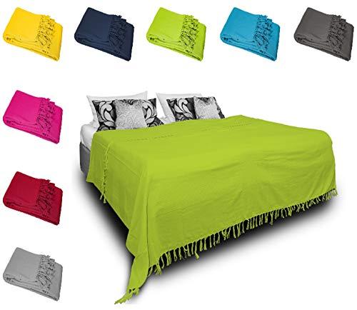 one-home Tagesdecke Bettüberwurf 220x240 cm Sofa Überwurf Bettdecke Doppelbett Baumwolle, Farbe:Grün