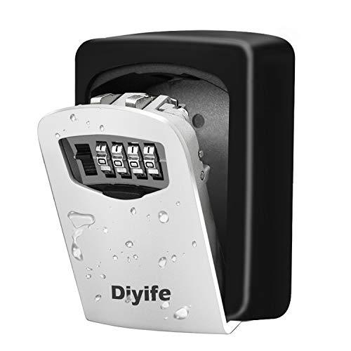 Diyife Schlüsseltresor mit 4-stelligem Zahlencode, Kombinationsschlüssel Safe Speicher Verschluss Kasten für Haus, Garagen, Schule Ersatz Haus Schlüssel (Wandmontage)