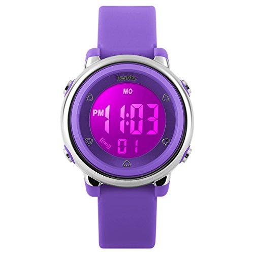BesWLZ Kinder und Jugendliche Uhr Digital Quarz Alarm Stoppuhr mit Plastik Armband Lila