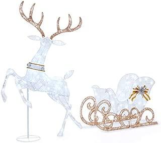 Winter Wonder Lane 2 Piece Lit Deer and Sleigh Set - 5 Feet Tall