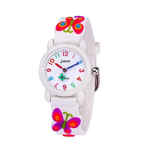 キッズ 腕時計 子供用 ウォッチ 子供腕時計 アラビア数字 防水 3D 蝶々 可愛い 女の子 ガールズ 卒園 入学祝い クリスマス 誕生日 プレゼント(ホワイト)