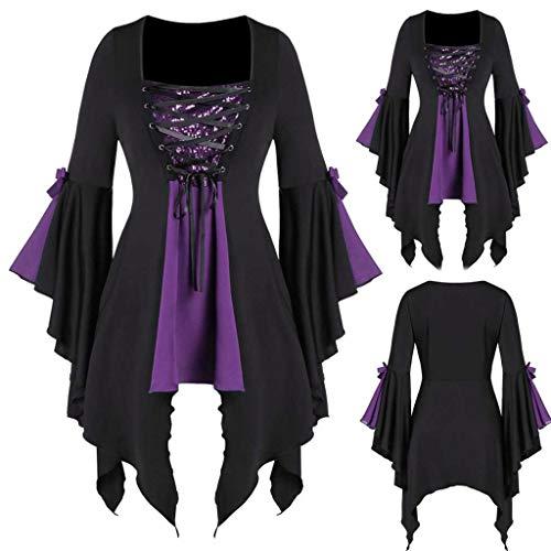 Gothic Pailletten Oberteile Damen Retro Tunika Kleid Langarm Kostüm Bluse Cosplay Karneval Halloween Weihnachten