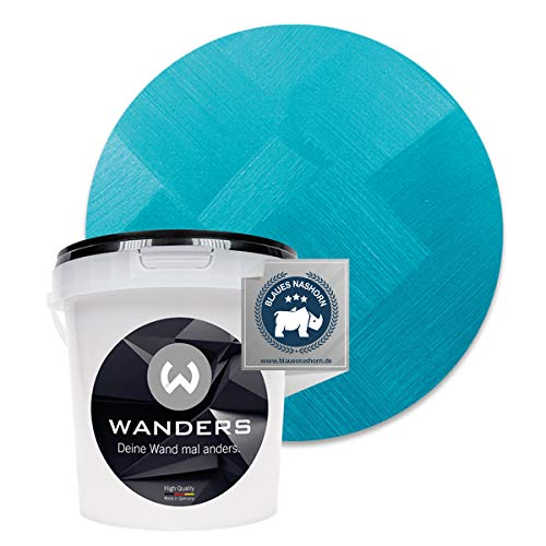 Wanders24® Edel-Metallic (1 Liter, anmutiges Türkis) Wandfarbe Metallic - zum Streichen im Metallic Look - in 5 edlen Farbtönen erhältlich - Made in Germany