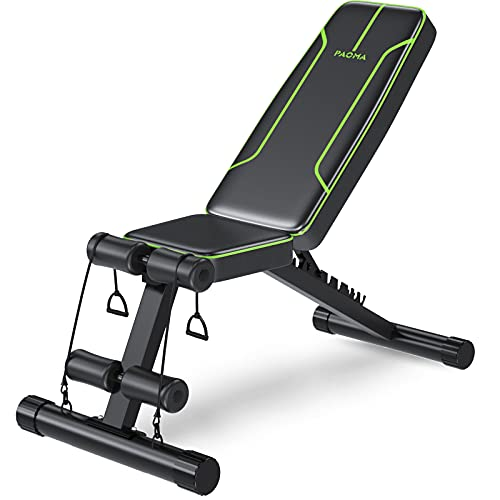 PAO MA Adjustable Weight Bench, Foldable Workout Bench for Exercise Bench Press, Incline Decline Bench for Home Gym Full Body Strength Training