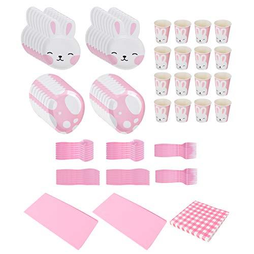 VALICLUD Ostern Papier Geschirr Set Hase Pappteller Teller Löffel Gabel Taschentuch Taberunner Tassen Kaninchen Brautdusche Tee Ostern Party Liefert (Rosa)