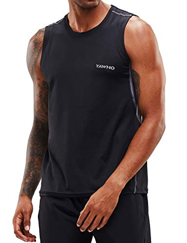 Herren Tank Top Tankshirt Sport T-Shirt Ärmellos Muskelshirt Fitness Gym Workout Bodybuilding Shirt Weste mit Rundhalsausschnitt,Schnelltrocknendes Atmungsaktives und Elastizität Stoff (Black, M)