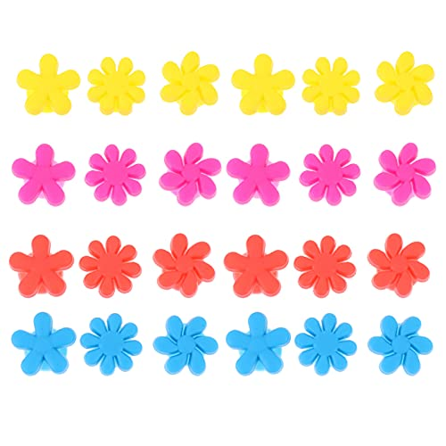 Lurrose 24 Unidades de Marcadores para Bebidas de Vidrio de Flores Colgantes de Cristal de Silicón Marcadores para Bebidas de Champán Cóctel Surtido de Colores