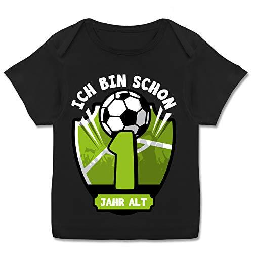 Geburtstag Baby - Ich Bin Schon 1 Jahr alt Fußball - 68-74 - Schwarz - 1 Jahr alt mädchen 86 - E110B - Kurzarm Baby-Shirt für Jungen und Mädchen