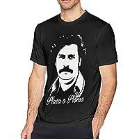 Pimkly Camisetas y Tops,Polos y Camisas Pablo Escobar Plata O Plomo Men's Short Sleeves Casual T-Shirt Black