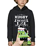 PIXEL EVOLUTION Sweat à Capuche 3D Rugby Texte Personnalisable en Réalité Augmentée Enfant - Taille 8 Ans - Noir