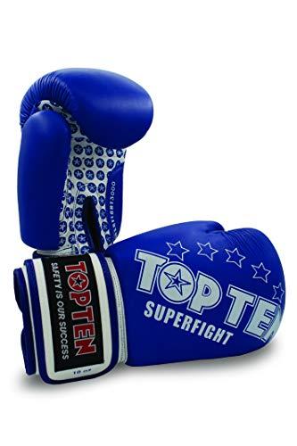 TopTen Superfight Stars - Guanti da Boxe, Unisex, Unisex, 20411-6010, Blu, 10 Once