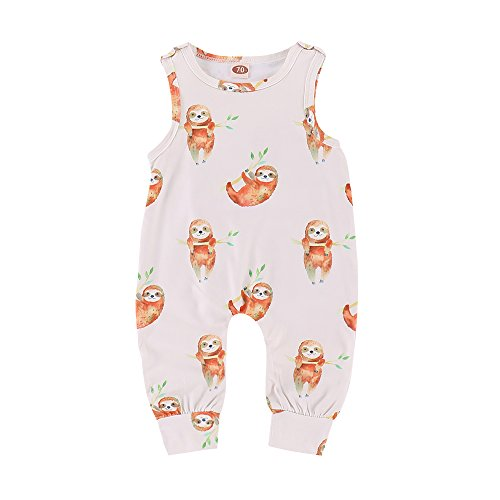 XiaoReddou Baby Summer Sleeveless Romper Animals Print Bodysuit One-Pieces Outfits (White, 0-6 Months)