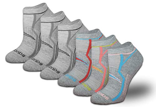 Saucony Women's 6-Pack Performance Comfort Fit No Show Socks, Bolt New Grey, Shoe Size: 5-10