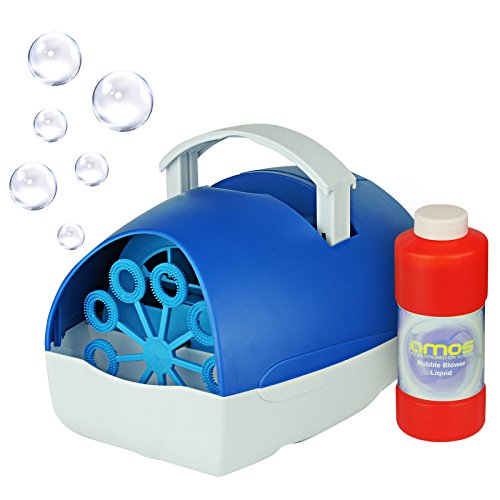 AMOS Bubble Machine Blower Maker Portable Mains or Battery Operated + Fluid...
