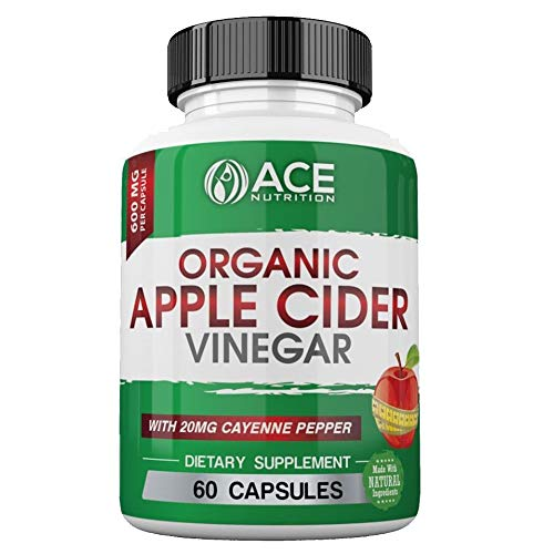 ACE Nutrition Organic Apple Cider Vinegar Capsules (600mg) Natural Detox and Weight Loss Supplements | Cayenne Pepper Metabolism Booster | Raw, Pure, Non-GMO, Gluten Free