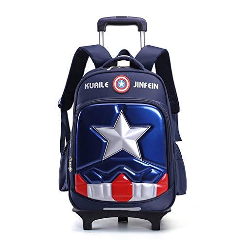 WQLESO Capitán América Niños de la Carretilla de Escolar del niño de 6 Ruedas para Subir escaleras Desmontable Mochila,A-32 * 14 * 42cm