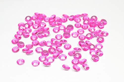 Set di 100 pietre decorative a forma di diamante, 1,2cm, Acrilico Plastica, 183 fucsia orchidea