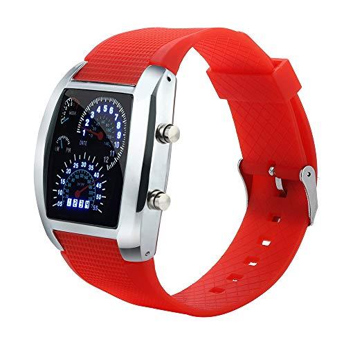 Mingfa Herren-Armbanduhr, modisch, LED, digital, Blitz, Turbo, Tacho, Sport, Zifferblatt, Maschine, Chronograph, Gummi-Armband Gr. Einheitsgröße, RedA