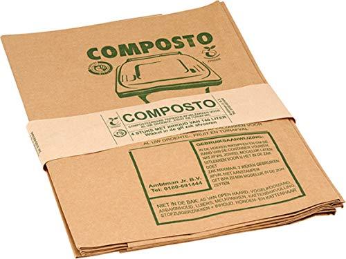 Composto Biologisch Afbreekbare GFT-/Containerzak, Biobakzak, Papier, 140 Liter, 60 stuks