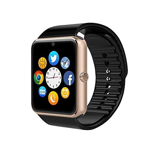 ZAOYIMALL Smartwatch GT08 Bluetooth Smart Watch met Camera SIM-kaart Slot Call Sync Notifier en Smart Health Watch voor Iphone en Android Smartphones (zwart), Goud-SD