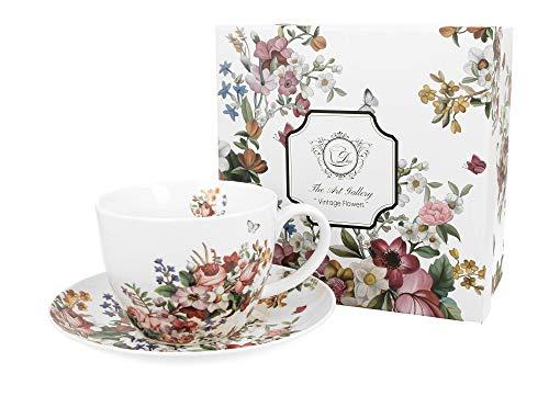 Duo Kaffeetasse Untertasse XXL Blumenmotiv 400ml Vintage Flowers White Trinkbecher Kaffee-Tasse Geschenk Tasse für Kaffee Teetasse Cappuccino Kaffeebecher Teebecher Unterteller nostalgisch