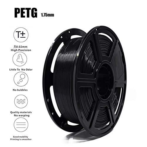 High Quality Black PETG Filament 3D Filament 1.75mm 1KG(2.2lb),Accuracy +/- 0.02 Mm,Non-Toxic Eco-Friendly Consumables for Most 3D Printer