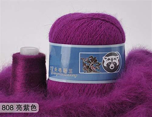 Mrjg Rosen 50 + 20g / Set Lange Plüsch Yarn Anti-Pilling Hand Stricken Gewinde for Cardigan Schal geeignet for Frau weiß (Color : 808)
