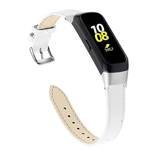 Jennyfly Correa de reloj de piel auténtica suave compatible con Samsung Galaxy Fit SM-R370, para mujer, ajustable de 5.5 a 8.1 pulgadas, correa delgada con hebilla de metal, color blanco