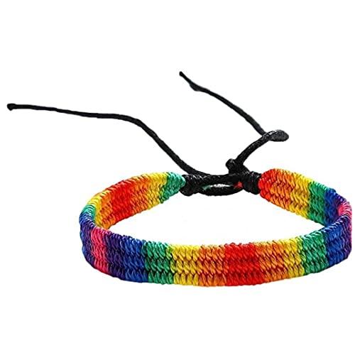 Pulsera Trenzada Hecha a Mano Ajustable del Orgullo De Pulsera para Los Regalos Homosexualidad Rainbow Pride Pulsera