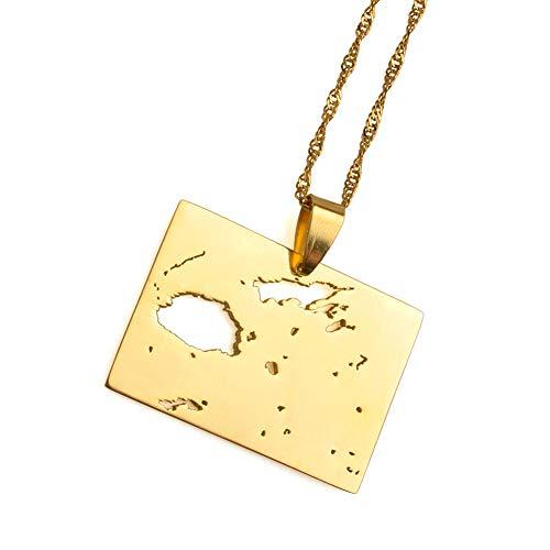 DRTWE Halskette mit Anhänger in Form einer Karte von Fiji, Goldfarben, für Herren und Damen, Ozeanien, Länderumrisse, Anhänger, Halskette, modisches Geschenk für Mädchen und Jungen, 60 cm dünne Kette