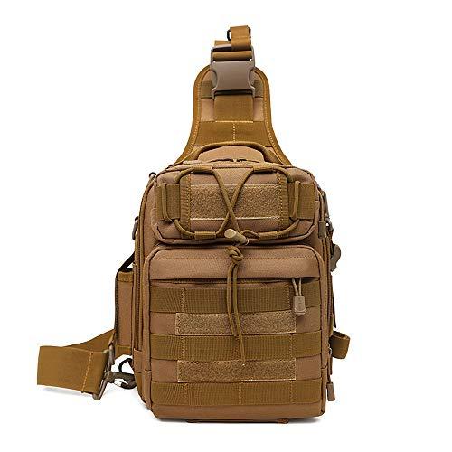 HUNTVP Taktisch Schultertasche Militär Brusttasche Wasserdicht Sling Rucksack Crossbody Bag Multifunktion mit Verstellbar Schultergurt für Sport Angeln Outdoor, Braun