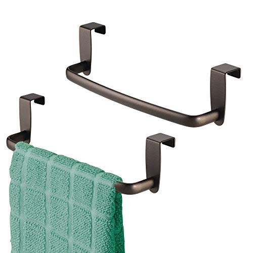 """mDesign Modern Kitchen Over Cabinet Strong Steel Towel Bar Rack - Hang on Inside or Outside of Doors - Storage and Organization for Hand, Dish, Tea Towels - 9.75"""" Wide - 2 Pack - Bronze"""