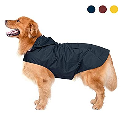 Zellar Dog Raincoat with Hood,Collar Hole, 100% Waterproof Ultra-Light Breathable Rainwear Rain Jacket with Safe Reflective Strips for Medium to Large Dog, Blue, 3XL