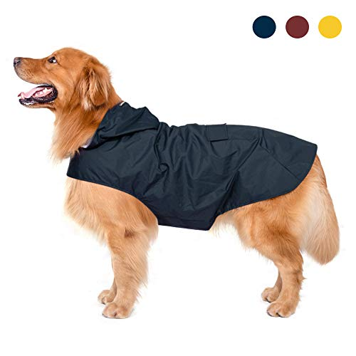 Zellar Impermeable para Perros con Capucha y Collar Agujero y Tiras reflectoras seguras, Ultra-Light Transpirable Impermeable 100% Chaqueta para Lluvia medianos Perro de Raza Grande ⭐