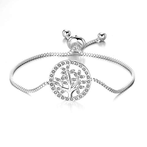 Philip Jones Silver Tree of Life Bracelet Created with Austrian Crystals