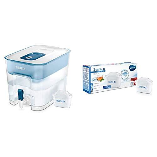 BRITA 1027666 Filtro per Acqua da Tavolo, Imbuto: SMMA, Bianco/Petrolio, 30.2 x 21.4 x 22 & filtri MAXTRA+ Pack 3, Cartucce per caraffe filtranti, 3 filtri x 3 mesi di acqua filtrata