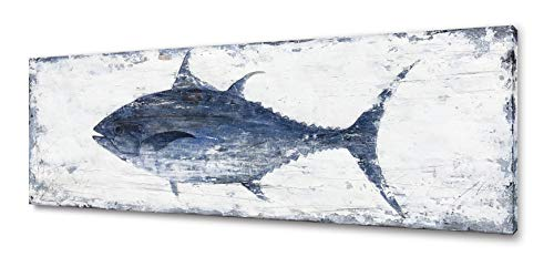 Yihui Arts Canvas Wall Art Abstract Tuna Fish Painting Modern Artwork Coastal Pictures for Bedroom Decoration (36Wx12L)
