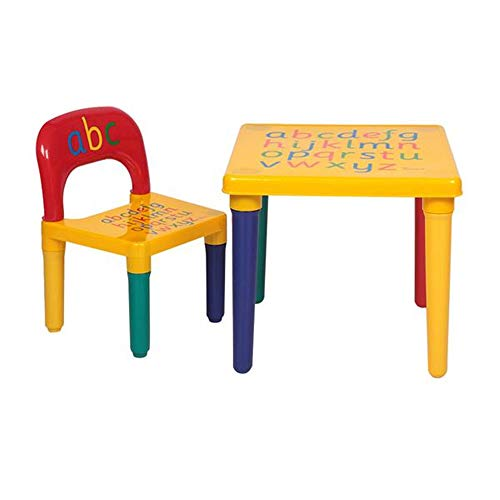 Balleen.E Kids Plastic Table and Chairs Set,Toddler Activity Chair Best for Toddlers Reading, Art Play-Room Little Kid Children Furniture with Letters (Yellow&Red)