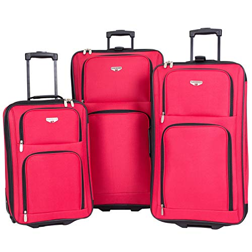 3 Piece Expandable 'Genova Collection' Travelers' Value Set with 29' Large Rolling Upright, 26' Suitcase, and 20' Carry-On Luggage, Red Color Option
