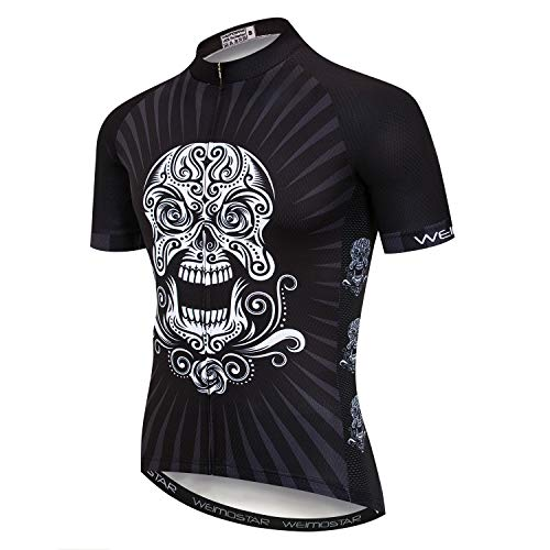 Uomo Ciclismo Jersey Skull Team Bike Abbigliamento Manica Corta Bicicletta Sport T-Shirt Top, Uomo, 29, XXL for Chest41-42.5',Max Waist44.9'